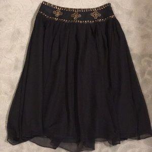 Willi Smith black chiffon skirt